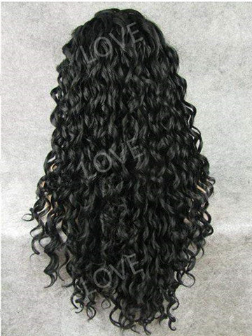 Long Black Finger Wave Hairstyle Synthetic Lace Front Wig - FashionLoveHunter