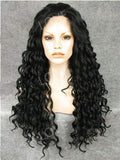 Long Black Finger Wave Hairstyle Synthetic Lace Front Wig