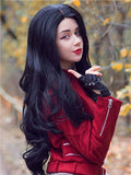 Long Black Magical Wave Cosplay Synthetic Lace Front Wig - FashionLoveHunter