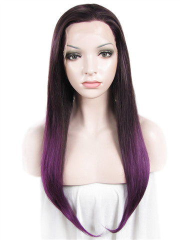 Long Black Purple Ombre Straight Synthetic Lace Front Wig - FashionLoveHunter