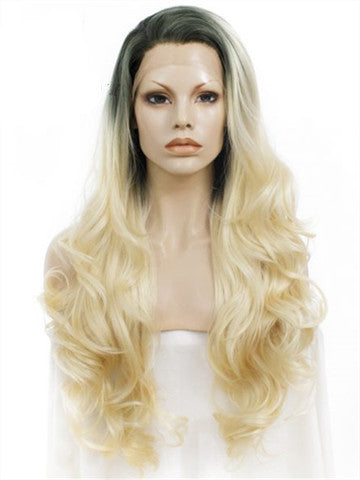 Long Black Root To Bright Blonde Ombre Wave Synthetic Lace Front Wig - FashionLoveHunter