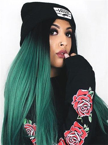Long Black Root To Dark Green Ombre Straight Synthetic Lace Front Wig - FashionLoveHunter