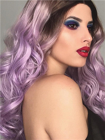 Long Black Root To Light Purple Ombre Wave Synthetic Lace Front Wig - FashionLoveHunter