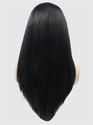 Long Natural Black Straight Synthetic Lace Front Wig - FashionLoveHunter