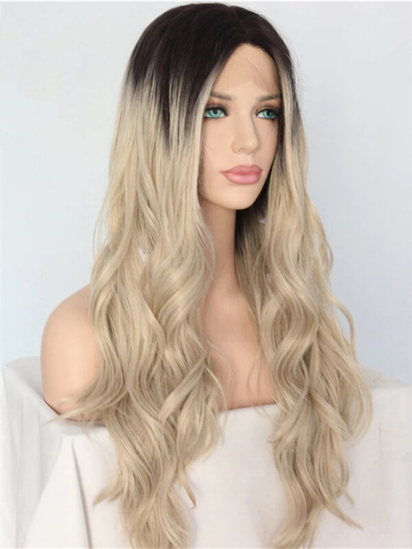 Long Black To Ash Blonde Wave Synthetic Lace Front Wig
