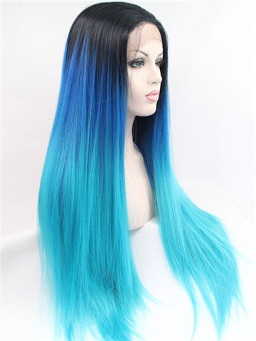 Long Black To Blue Bright Green Ombre Straight Synthetic Lace Front Wig - FashionLoveHunter