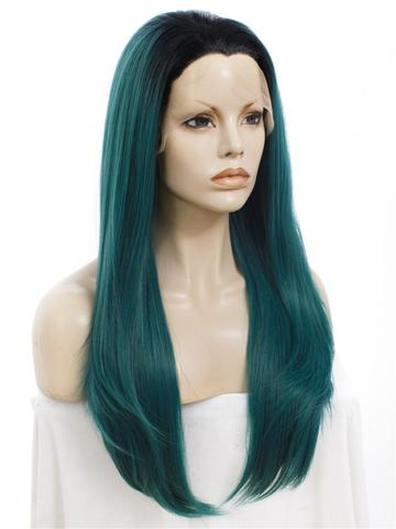 Long Black To Dark Green Cosplay Ombre Synthetic Lace Front Wig - FashionLoveHunter