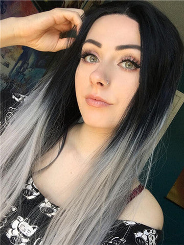 Long Black To Grey Ombre Straight Synthetic Lace Front Wig - FashionLoveHunter