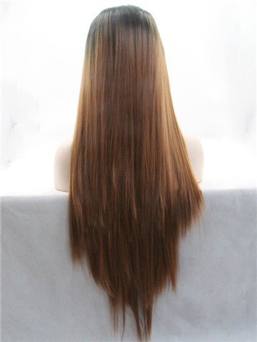Long Black To Medium Brown Ombre Straight Synthetic Lace Front Wig - FashionLoveHunter
