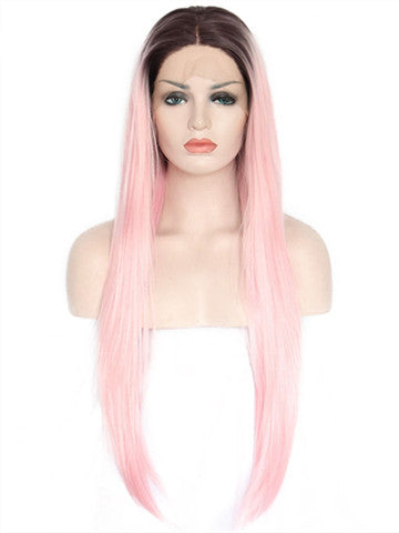 Long Adore Warm Pink Ombre Straight Synthetic Lace Front Wig - FashionLoveHunter