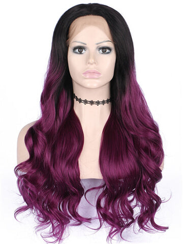 Long Black To Scarlet Wine Red Ombre Wave Synthetic Lace Front Wig