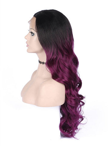 Long Black To Scarlet Wine Red Ombre Wave Synthetic Lace Front Wig - FashionLoveHunter