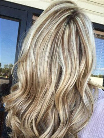 Long Blonde Highlight Brown Mixed Synthetic Lace Front Wig