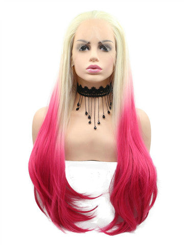 Long Blonde To Bright Red Ombre Synthetic Lace Front Wig