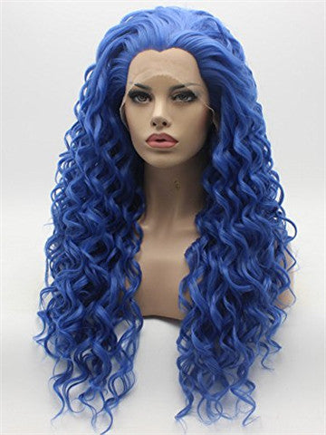 Long Lovely Midnight Blue Curly Synthetic Lace Front Wig - FashionLoveHunter