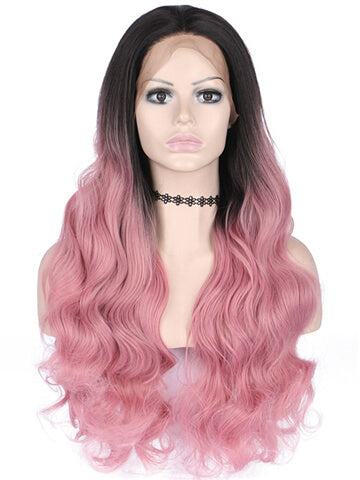 Long Blush Pink Strawberry Ombre Wave Synthetic Lace Front Wig - FashionLoveHunter