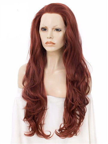 Long Body Wave Copper Auburn Synthetic Lace Front Wig - FashionLoveHunter