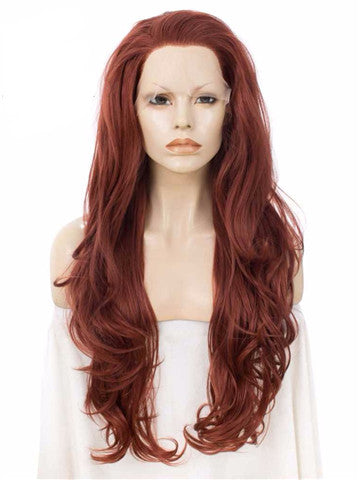 Long Body Wave Copper Auburn Synthetic Lace Front Wig