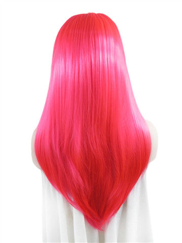 Long Bright Anime Red Wave Synthetic Lace Front Wig - FashionLoveHunter