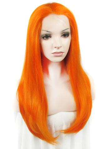Long Bright Arancia Orange Synthetic Lace Front Wig - FashionLoveHunter