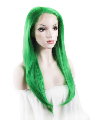 Long Bright Teal Green Wave Synthetic Lace Front Wig - FashionLoveHunter