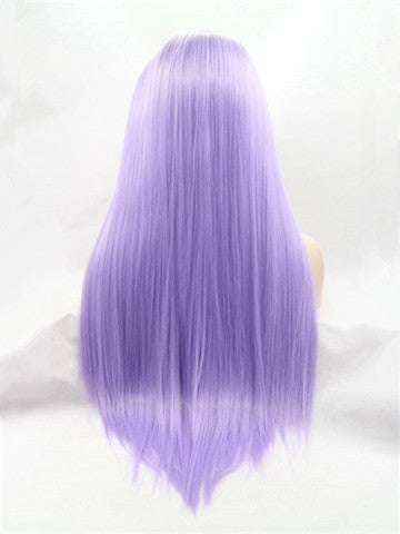 Long Brown Root Lavender Purple Ombre Synthetic Lace Front Wig - FashionLoveHunter