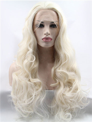 Long Buttery blonde Wave Synthetic Lace Front Wig - FashionLoveHunter