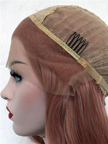 Long Campsis Grandiflora Peach Pink Synthetic Lace Front Wig - FashionLoveHunter