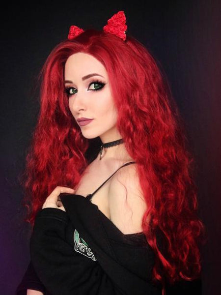 Long Canna Dark Red Fire Brick Curly Synthetic Lace Front Wig
