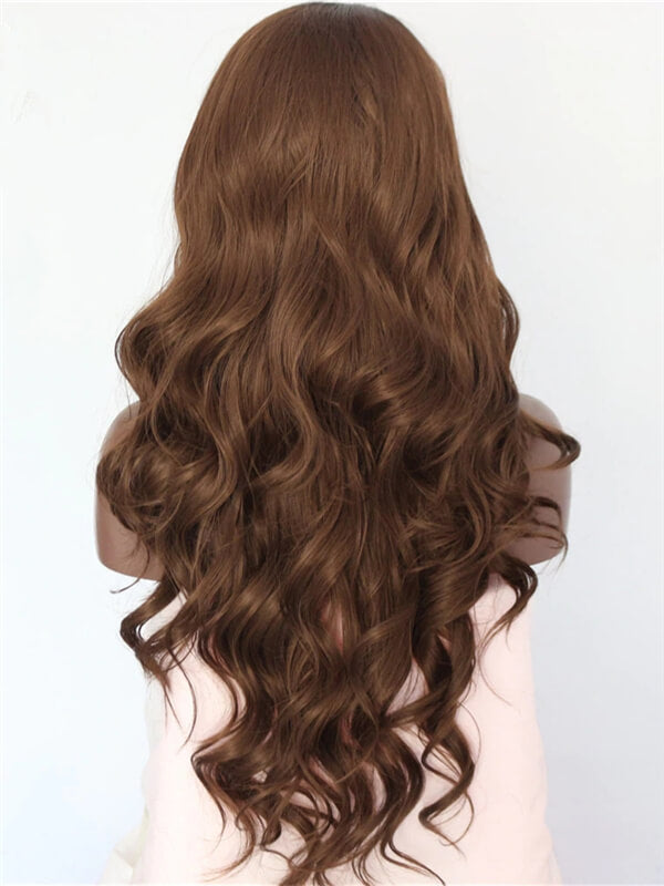 Long Caramel Saddle Brown Ombre Wave Synthetic Lace Front Wig