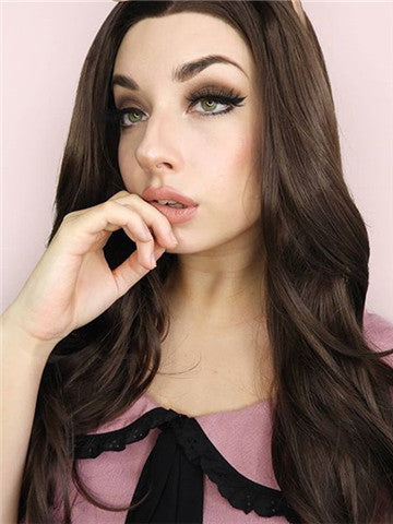 Long Chestnut Brown Wave Synthetic Lace Front Wig - FashionLoveHunter