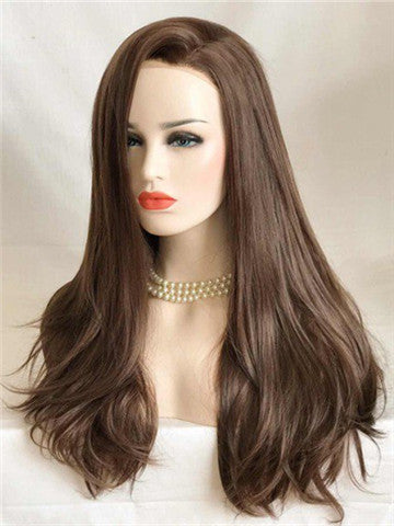 Long Chocolate Brown Kisses Mocha Straight Synthetic Lace Front Wig - FashionLoveHunter