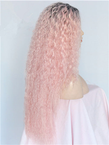 Long Coral Pink Kinky Curly Ombre Synthetic Lace Front Wig - FashionLoveHunter