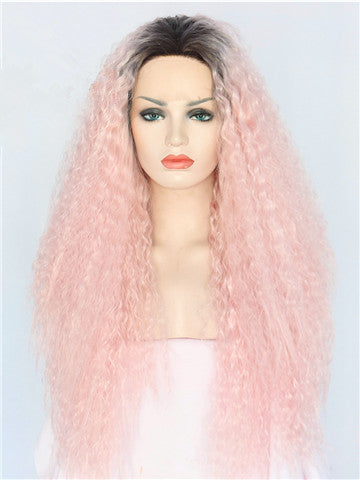 Long Coral Pink Kinky Curly Ombre Synthetic Lace Front Wig