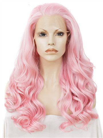 Long Dahlia Pink Wave Synthetic Lace Front Wig - FashionLoveHunter