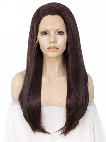 Long Dark Auburn Color Straight Synthetic Lace Front Wig - FashionLoveHunter