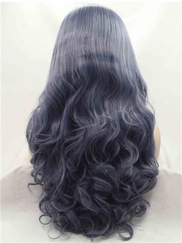 Long Dark Blue Wave Synthetic Lace Front Wig - FashionLoveHunter