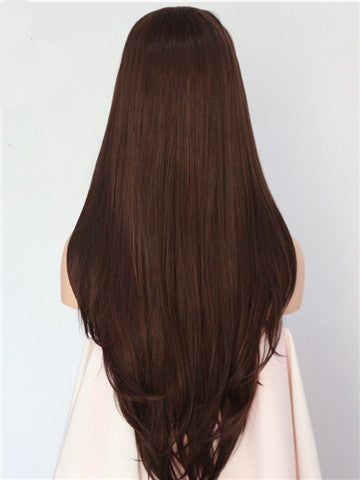 Long Dark Brown Highlight Straight Synthetic Lace Front Wig - FashionLoveHunter