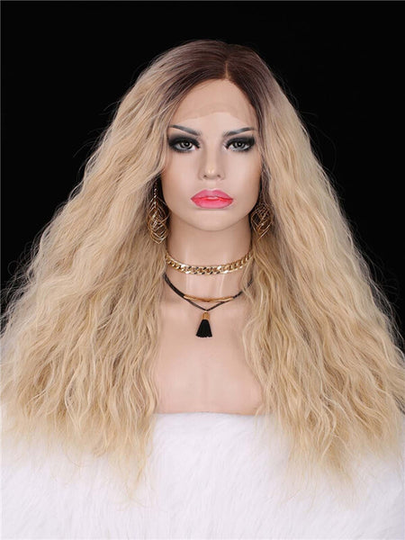 Long Dark Brown to Natural Blonde Curly Synthetic Lace Front Wig