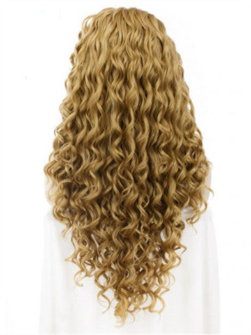 Long Dark Gold Curly Synthetic Lace Front Wig - FashionLoveHunter
