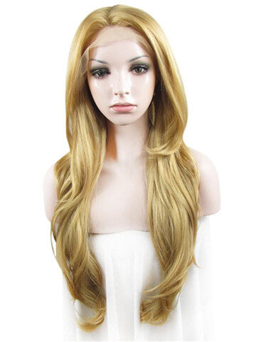 Long Dark Golden Rod Tinsel Natural Wave Synthetic Lace Front Wig