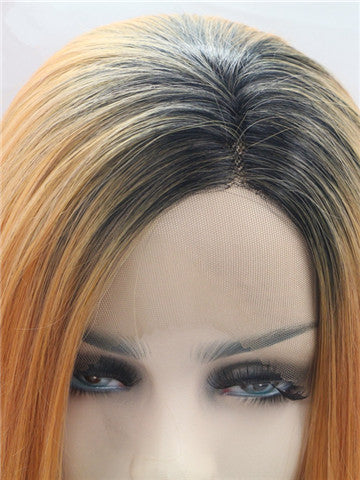 Long Dark Orange Ombre Straight Synthetic Lace Front Wig - FashionLoveHunter