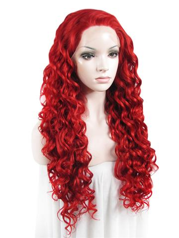 Long Dark Red Curly Synthetic Lace Front Wig - FashionLoveHunter