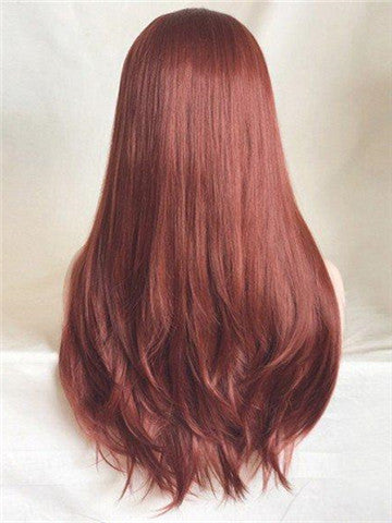 Long Dark Reddish Brown Copper Straight Synthetic Lace Front Wig - FashionLoveHunter