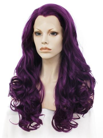 Long Dark Reddish Purple Big Wave Synthetic Lace Front Wig - FashionLoveHunter
