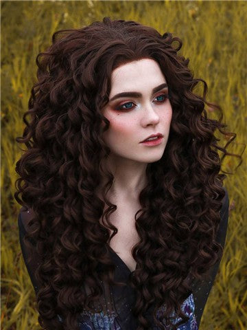 Long Darkest Brown Curly Synthetic Lace Front Wig - FashionLoveHunter