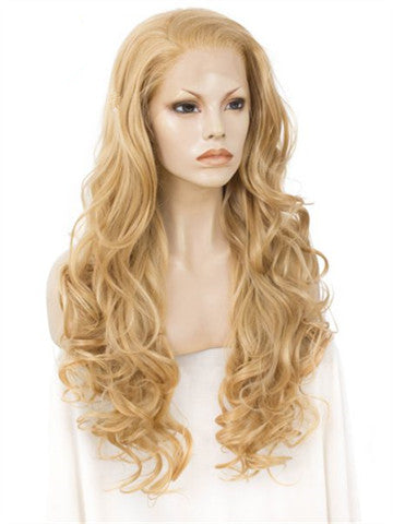 Long Gold Medal Loose Wave Synthetic Lace Front Wig - FashionLoveHunter
