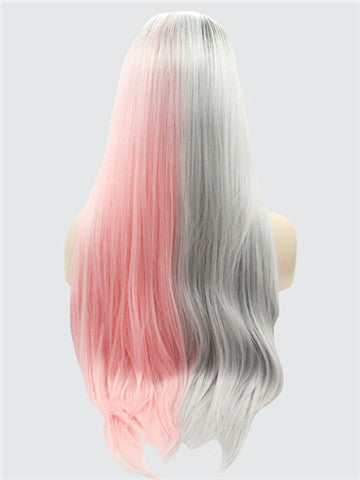 Long Double Colors Pink Grey Straight Synthetic Lace Front Wig - FashionLoveHunter