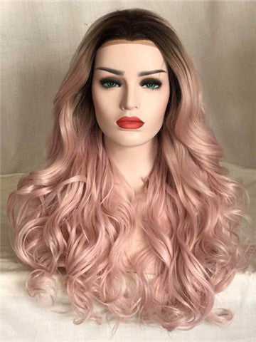 Long Dusty Rose Light Pink Wave Synthetic Lace Front Wig - FashionLoveHunter