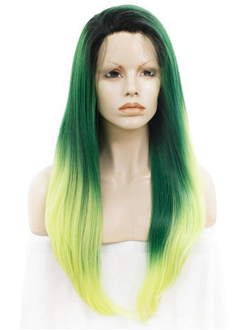 Long Forest Green To Yellow Ombre Straight Synthetic Lace Front Wig